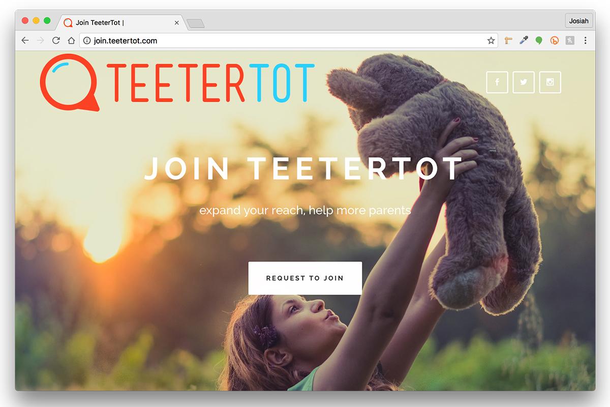 TeeterTot - Support Website – Join